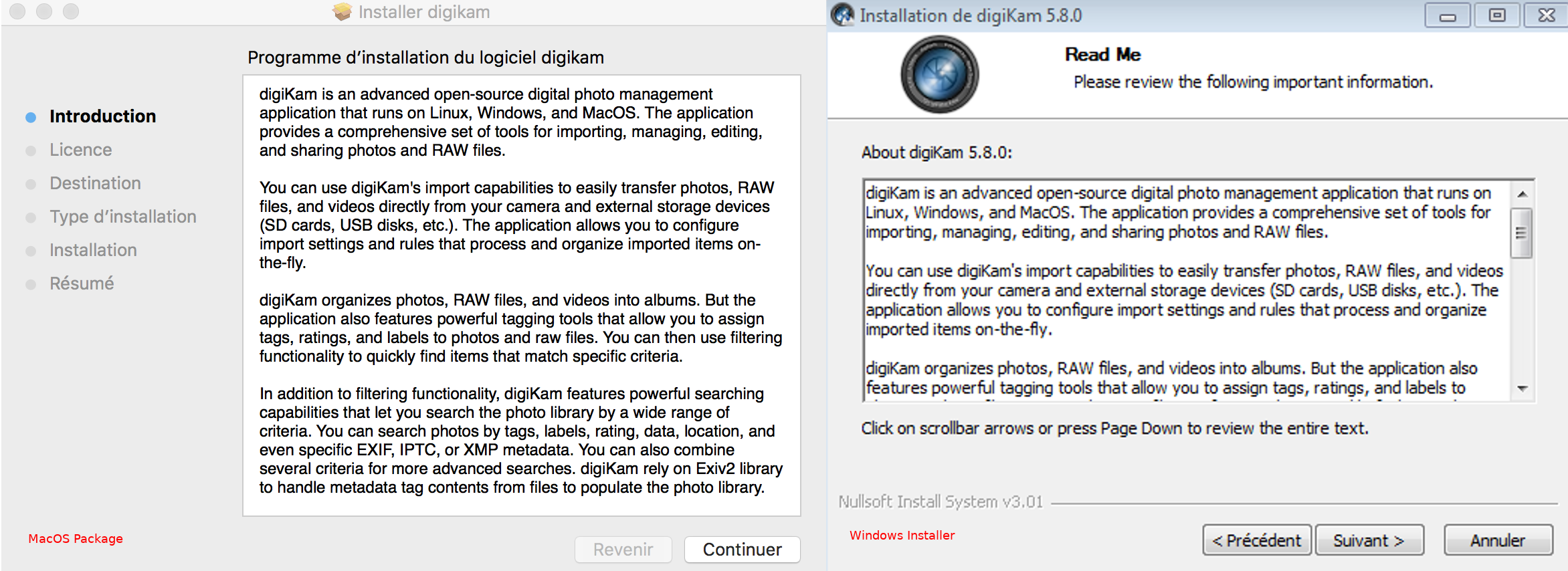 MacOS and Windows digiKam Installers in Action